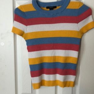 multicolor skin tight ribbed cotton t-shirt